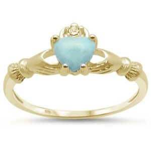 yellow gold plated natural larimar claddagh ring